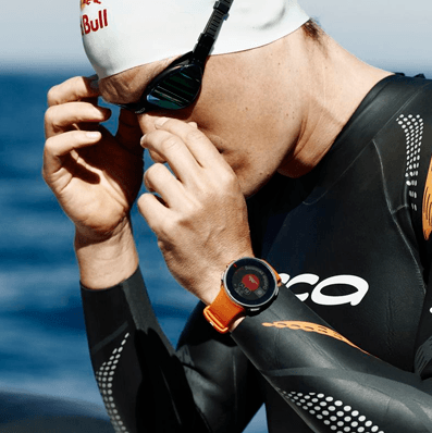 Swimmer using a Polar Vantage watch